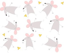 Funny Rats Or Mouse With Cheese. Childish Style. Seamless Pattern For Your Design