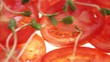 Slices of tomato and sweet basil Sweden.