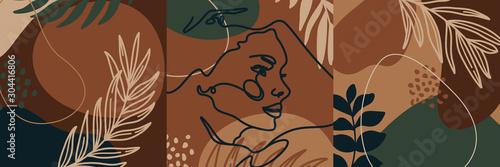 Fototapeta Set Backgrounds with palm leaves and woman's portrait in a minimal trendy style templates for social media post. Vector Illustration collage art. For posters, postcards, Covers, prints. obraz