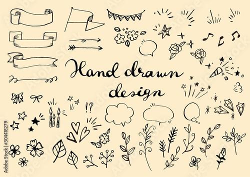 手描きのイラスト素材セット - 304418279