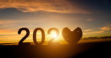 2020 New Year Concept. Silhoue...