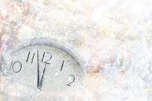 New Year's At Midnight Concept. Clock Of Holiday Counting Last Moments Before Christmas Or New Year.