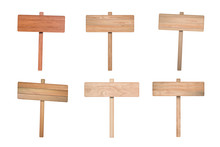 Set Of Wooden Road Sign Isolat...