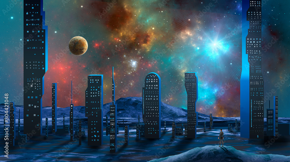 Man standing on mountain and look to abstract modern sci-fi city with colorful fractal nebula and planet. Elements furnished by NASA