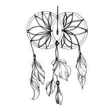Vector Fether Dreamcatcher. Bl...