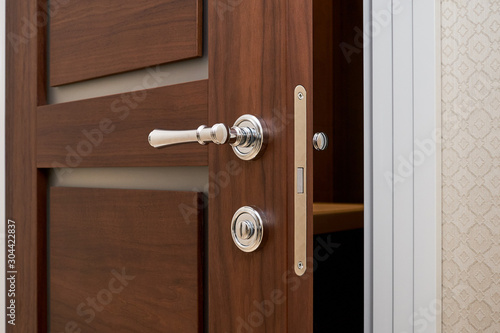 Fototapeta walnut door with white trim in the hallway and details obraz