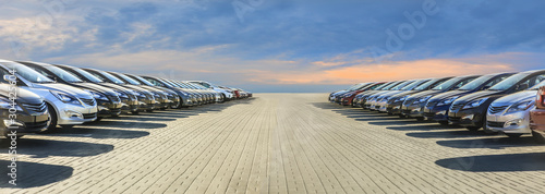 Cars For Sale Stock Lot Row. Fototapeta
