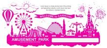 Amusement Park - Modern Vector...