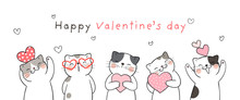 Draw Banner Cute Cat For Valentine's Day.