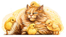 Cat With Chickens. Wall Sticke...