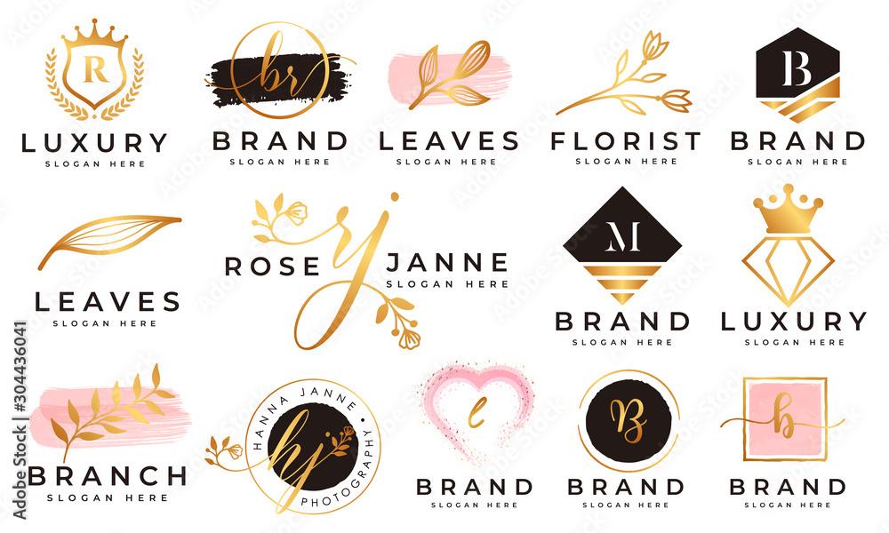 Fototapeta Feminine logo collections template premium vector