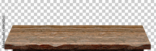 Obraz na plátně Empty wooden table top high angle from top isolated in checkered background incl