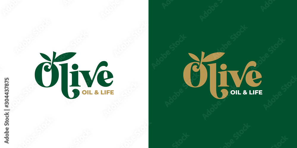 Fototapeta olive oil typography logo design template vector