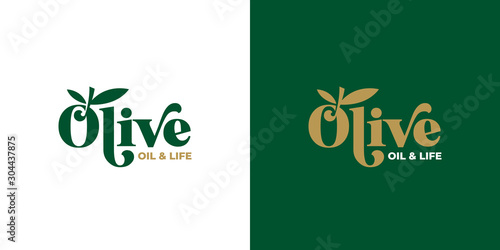 Fotomural  olive oil typography logo design template vector