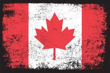 Canada Flag In Grunge Style Premium Vector