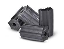 Charcoal Briquettes On White B...