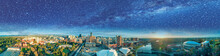 Beautiful Aerial Panoramic View Of Adelaide On A Starry Night, South Australia