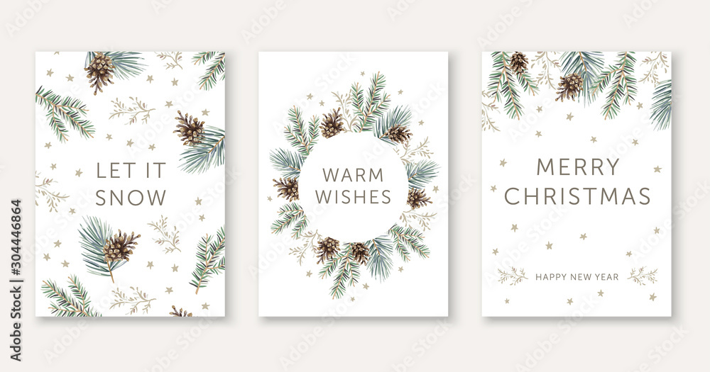 Fototapeta Winter nature design greeting cards template, circle frame, text Let it Snow, Warm Wishes, Merry Christmas, white background. Green pine, fir twigs, cones, stars. Vector xmas illustration
