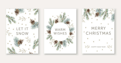Winter nature design greeting cards template, circle frame, text Let it Snow, Warm Wishes, Merry Christmas, white background. Green pine, fir twigs, cones, stars. Vector xmas illustration