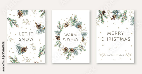 Winter nature design greeting cards template, circle frame, text Let it Snow, Warm Wishes, Merry Christmas, white background. Green pine, fir twigs, cones, stars. Vector xmas illustration #304446864
