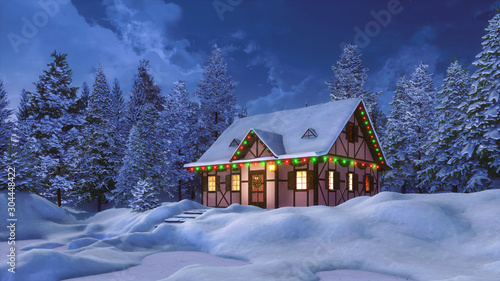 Obraz Dreamlike winter scenery with snowbound half-timbered rural house decorated by christmas lights among snow covered pine forest at night. 3D illustration for Xmas or New Year holidays. - fototapety do salonu