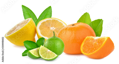 Mixed slice fruits isolated on a white background Wallpaper Mural
