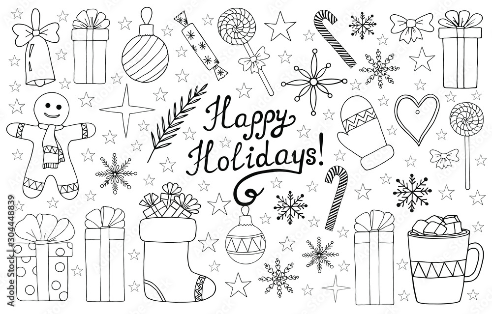 Fototapeta Vector set of  hand drawn Christmas and New Year elements