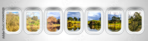 Beautiful scenic view of Hobbiton landscape in New Zealand through the aircraft Canvas Print