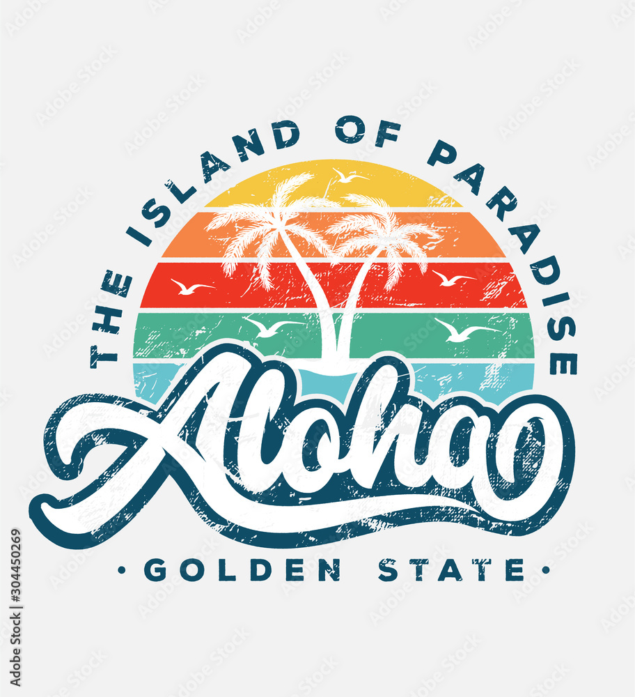 Fototapeta aloha beach typography slogan with palm tree illustration. theme vintage print design for fashion print and other uses