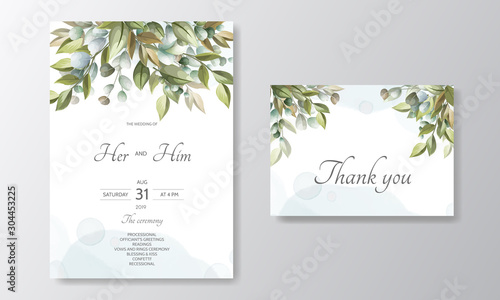 wedding invitation card-template set with beautiful floral leaves