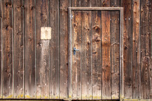 Wooden Door On An Old Shed