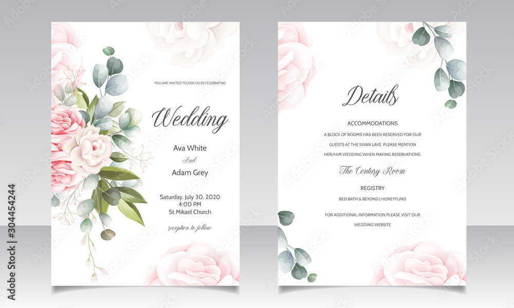 Fototapeta wedding invitation card-template set with beautiful floral leaves