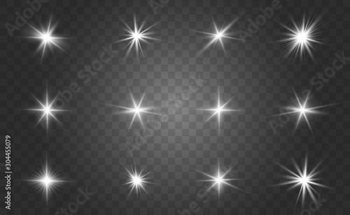 Glow isolated white light effect set, lens flare, explosion, glitter, line, sun flash and stars Wallpaper Mural