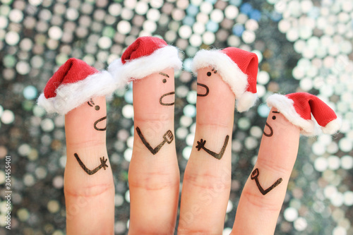 Fingers art of of people during quarrel in New Year. Wallpaper Mural
