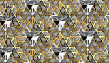 3D Wallpaper of golden and silver grid 3D bionic shape tiles on white background. High quality seamless realistic texture.