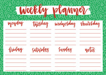 Cute Weekly Planner For 2020 Year On Winter Background With Christmas Trees And Snow. A4 Print Template For Weekly And Daily Planner With Lettering. Organizer And Schedule With Notes.