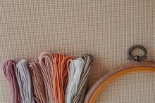 Flatlay Creativity: Canva Aida Beige And Multi-colored Thread Mouline Thread, Cross-stitch 1
