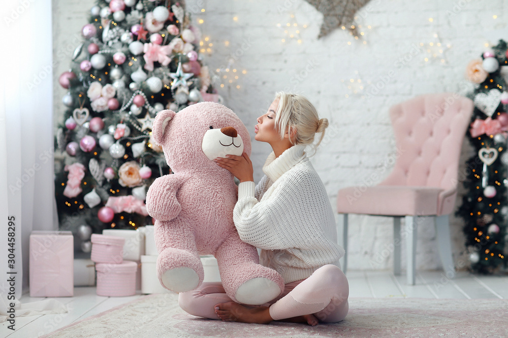 Fototapety, obrazy: Young beautiful girl with pink bear