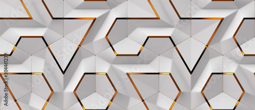 Fototapeta 3D white panels with red gold decor elements. Shaded geometric modules. High quality seamless design texture obraz