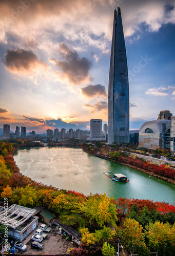 view of the city in autumn at seoul city south korea Canvas Print