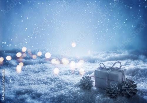 Fotografía  Abstract dark blue winter still life