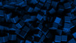 blue abstract background with cubes, wallpaper 3d illustration