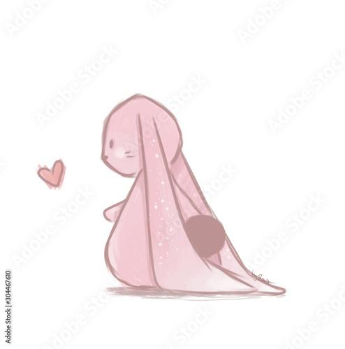 Różowy zajączek