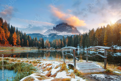 Canvas Prints Autumn Great rocks over the lake Antorno in National Park Tre Cime di Lavaredo. Location Dolomite alps, Italy, Europe.