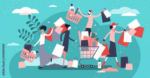 Obraz na plátně Shopping madness crowd flat tiny persons concept vector illustration