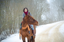 Portrait Of Girl Riding Red Tr...
