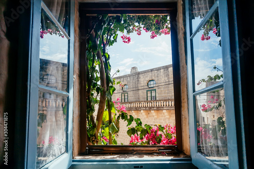 View from old house window with garden flowers and historical building behind Fototapeta