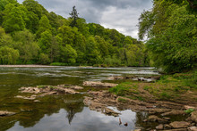 The Shore Of The River Eden, Seen From Wetheral, Cumbria, England, UK