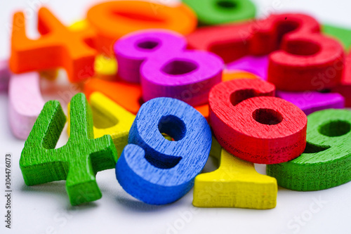 Obraz Math Number colorful on white background : Education study mathematics learning teach concept.. - fototapety do salonu