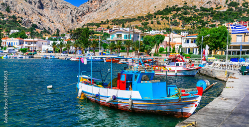 Traditional Greek islands - Chios. Vrontados fishing village. Travel in Greece